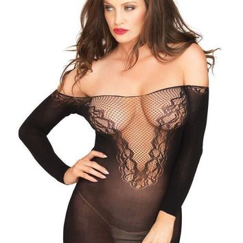 Off The Shoulder Seamless Mini Dress With Net And Lace Deep V Front