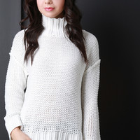 Thick Boarder Rib Knit Turtle Neck Top