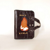 Vintage Tooled Leather Bible Cover with Handles
