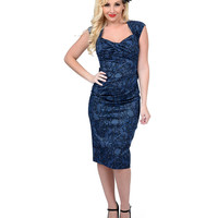 Stop Staring! 1940s Blue Lace Print Love Wiggle Dress