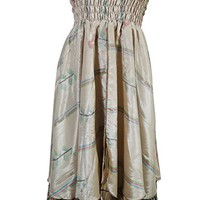 Mogul Interior Womens Sundress Recycled Vintage Sari Two Layer Printed 2 in 1 Strapless Dress and Maxi Skirts