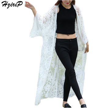 HziriP 2017 New Summer Coat Women Solid Lace Hand Hook Floral Flare Sleeve Long Beach Sunscreen Coat Women Chaquetas Mujer White