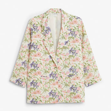 Silky blazer - Flower gurl - Coats & Jackets - Monki GB