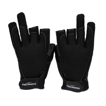 Top Quality fishing glove three finger gloves PU fishing gloves outdoor ride gloves L/XL size