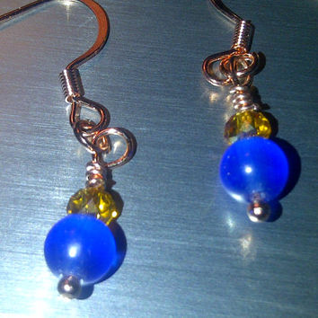 Copper Cobalt Blue Earrings