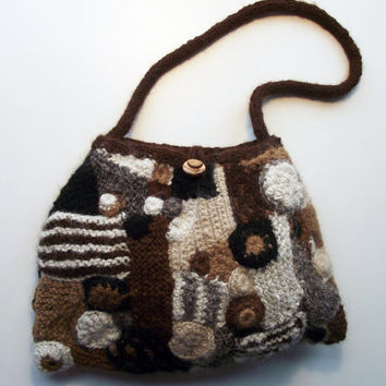Freeform Handbag, Lined Brown Knit Shoulder Bag,  Handspun Knitted Alpaca Purse, Crochet & Knit Freeform Alpaca Brown Cream Black Bag