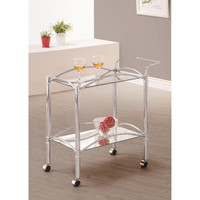 Beautiful Metal Serving Cart, Silver By Coaster