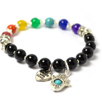 Seven Chakras Hamsa Bracelets, Real Gemstones with Black Obsidian, Crystal Rondelles, Silver Plated Beads, Buddhist Prayer Beads