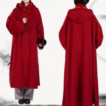 4color unisex WINTER Buddhist meditate wool mantle Cape cloak monks robe meditation coat martial arts abbot nun red/brown/gray