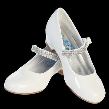White Short Heel Dress Shoes with Rhinestone Top Strap (Toddler & Girls Sizes)