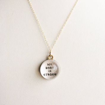 My Body is Strong, Affirmation P.O.M. Candy 14k Gold Filled Necklace