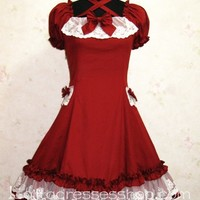 Beautiful Wine Red Retro Palace Lace Princess Classic Lolita Dress