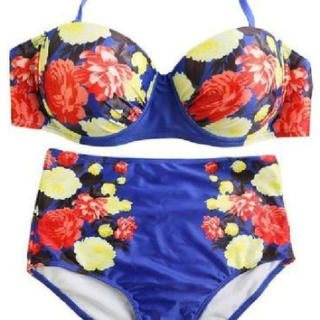 Royal Blue Floral Push Up High Waist Bikini