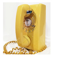 WORKING- Yellow Rotary Wall Phone