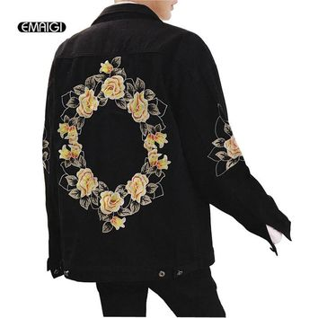Trendy 2018 New Behind Embroidered Denim Jacket Overcoat for Men Women High Street Fashion Hip Hop Casual Loose Jeans Coat AT_94_13