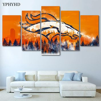 YPHYHD Modern 5 Piece Denver Broncos Canvas Painting Print Poster Art Canvas Painting Wall Decor Poster Canvas Painting Abstract