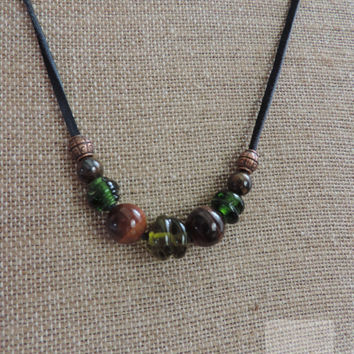 Wine bottle necklace Glass beaded necklace Unique jewelry (N042)