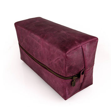 Large Toiletry case, Real Leather Burgundy, Free Branding Initials, Anniversary, Zipper Pouch, Travel case, Cosmetic case, Leather gift
