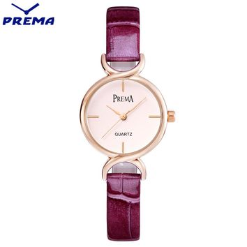 PREMA Ladies Simple Small Round Dial Rose Gold Skeleton Bracelet Womens Watches 2017 Top Brand Casual Quartz Watch Women
