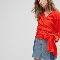 Pimkie Poplin Wrap Around Top at asos.com