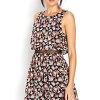 FOREVER 21 Fresh Fields Layered Dress Black/Dusty Pink