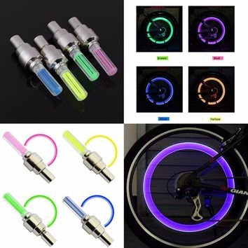 1 pair Outdoor Bicycle Bike LED Neon Tire Wheel Gas Nozzle Valve Core Glow Stick Light For Driving Bicycle Accessories packing
