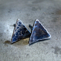 Organic Triangle Stud Earrings //  Sterling Silver Geometric Studs // Unisex Gift For Her & For Him