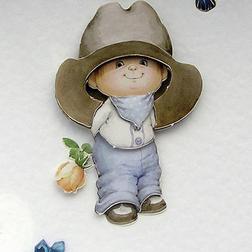 Cowboy Blue - Hand-Crafted 3D Decoupage Card - Blank for any Occasion (1725)