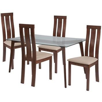 Escalon 5 Piece Walnut Wood Dining Table Set with Glass Top and Vertical Wide Slat Back Wood Dining Chairs - Padded Seats