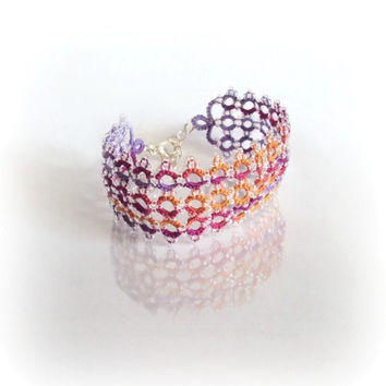 Tropical Bracelet / Prom Cuff in Beaded Tatting Lace, One Of A Kind, Lilac, Purple, Orange, Beach Wedding - Lyanara - Adjustable