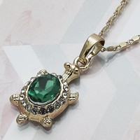 Gold Layered Women Turtle Fancy Necklace, with Green Crystal, by Folks Jewelry
