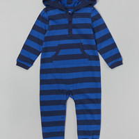 Blue & Navy Stripe Hoodie Romper - Infant