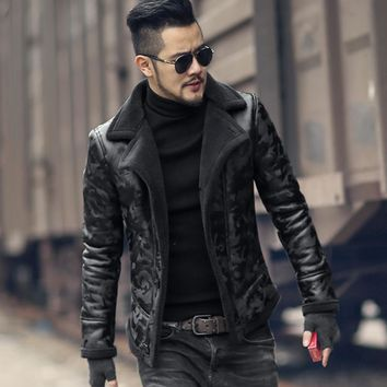 Black men winter warm camouflage fur lamb woolen casual jacket men fur collar plush faux leather jacket coat European style