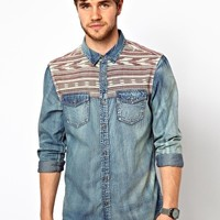 New Look Denim Shirt with Contrast Yoke