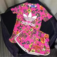 Adidas Women Flowers Print Top T-Shirt Shorts Set Two-Piece