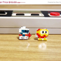 ON SALE: Dig Dug earrings - Video game jewelry - arcade earrings - 8 bit pixel