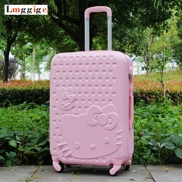 "20""22""24""26""28"" inch Hello Kitty Luggage,Spinner wheel ABS Suitcase Trolley,Women and children KT cat Travel Case,password box"