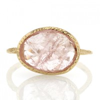 Danielle Welmond | Open Backed Morganite Gold Ring at Voiage Jewelry