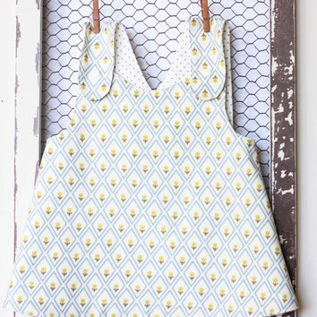 3M 6M 12M 18M Baby Girl Pinafore Cross-Over Reversible Sun Dress with Diaper Cover - Baby Pinafore