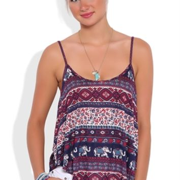 Elephant Tribal Print Flowy Tank Top