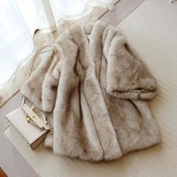 Cream Grey Faux Fur Coat