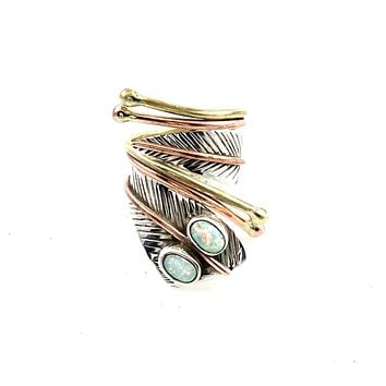 Fire Opal Sterling Silver Two Tone Adjustable Wrap Ring