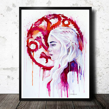 Daenerys Targaryen 2 - game of thrones watercolor painting print, Celebrity Portraits, Carmine red, Cerulean, red dragon