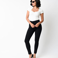 1950s Style Black Stretch Denim Cigarette Pants