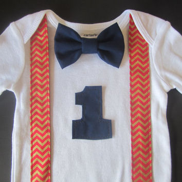 Boy red gold chevron suspender shirt, Boy birthday outfit, Boyy red gold chevron suspender shirt, Red chevron suspender shirt, bow tie onsie