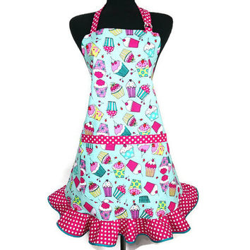 Cupcake Apron for Women , Aqua with Pink Ruffle , Retro Kitchen Decor