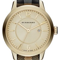 Women's Burberry Check Stamped Leather Strap Watch, 32mm
