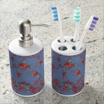 Red Blue Subtle Abstract Floral Ornament Bath Set