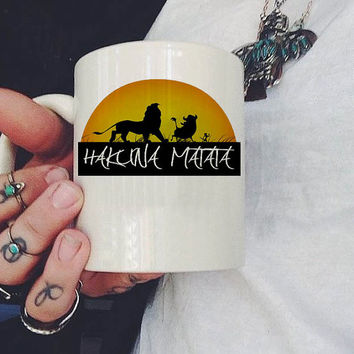 Hakuna Matata Lion King Disney Mug, Ceramic Mug, Coffee Mug, tea mug,