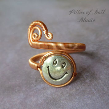 Wire Wrapped Ring, mixed metal jewelry, wire wrapped jewelry handmade, wire jewelry, copper jewelry, smiley face adjustable ring